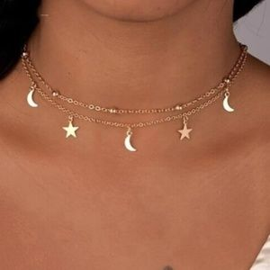 Two Layer Gold Star and Moon Necklace